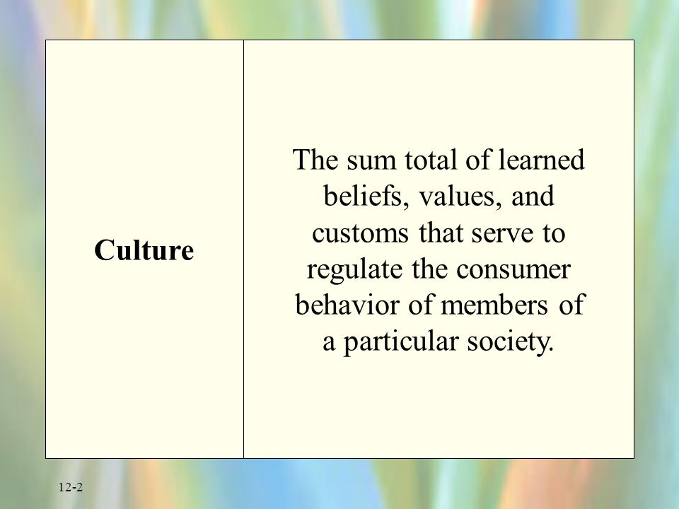 12-2 Culture The sum total of learned beliefs, values, and customs that serve to regulate the consumer behavior of members of a particular society.