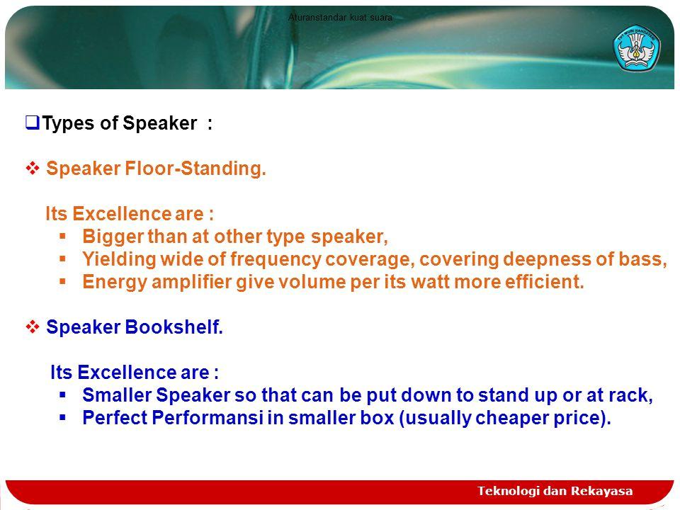 Teknologi dan Rekayasa  Types of Speaker :  Speaker Floor-Standing.