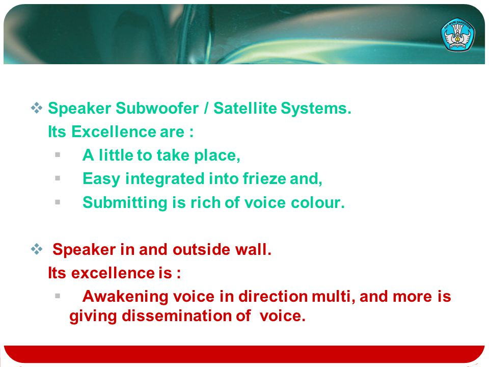  Speaker Subwoofer / Satellite Systems.