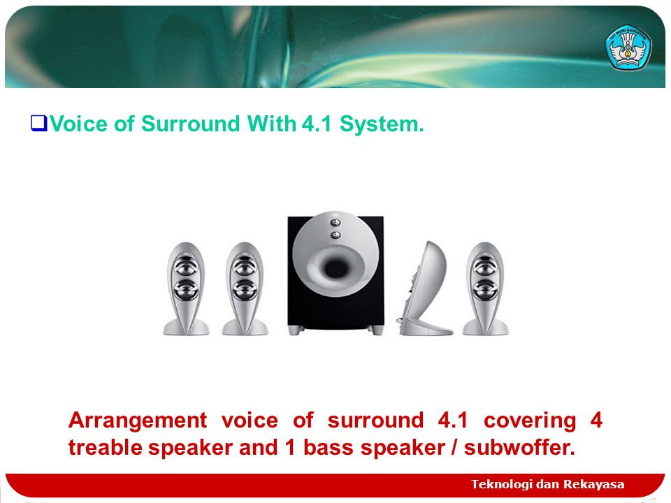 Teknologi dan Rekayasa  Voice of Surround With 4.1 System.