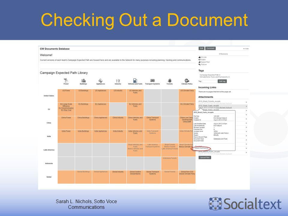 Checking Out a Document Sarah L. Nichols, Sotto Voce Communications