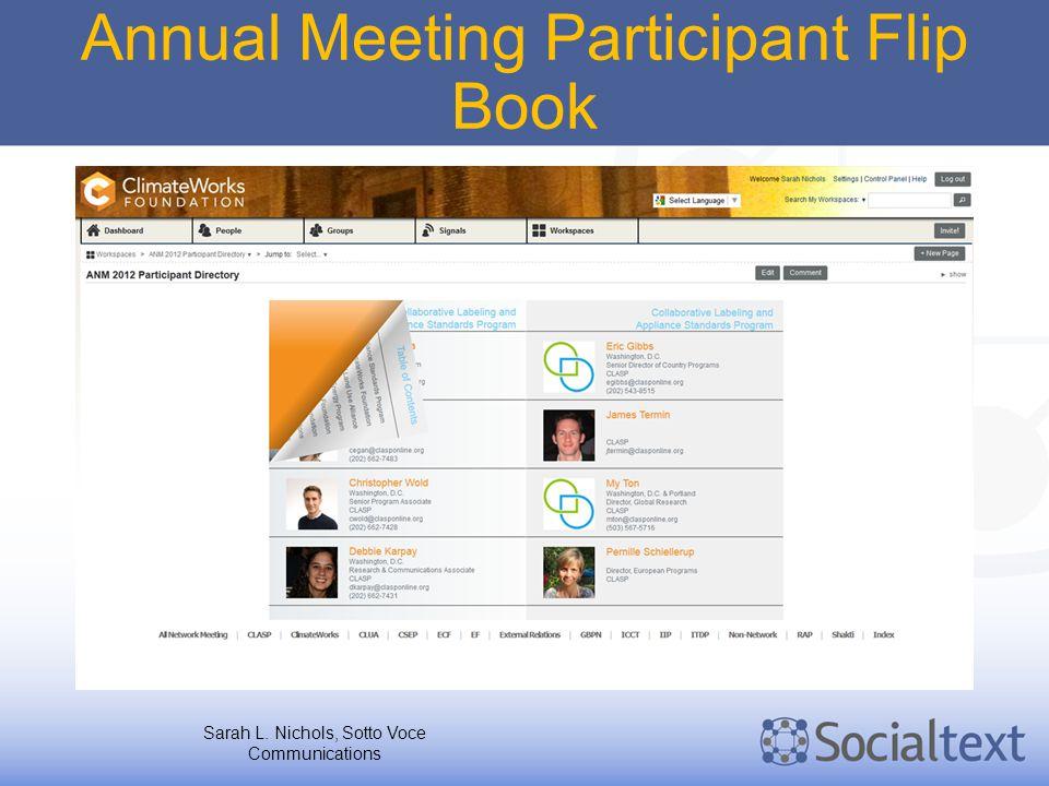 Annual Meeting Participant Flip Book Sarah L. Nichols, Sotto Voce Communications