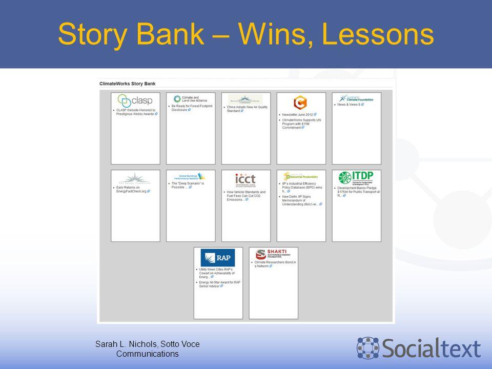 Story Bank – Wins, Lessons Sarah L. Nichols, Sotto Voce Communications