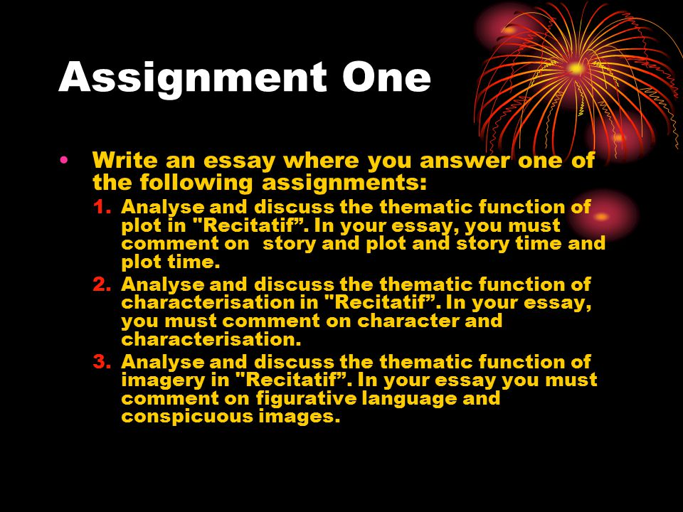 Assignment One Write an essay where you answer one of the following assignments: 1.Analyse and discuss the thematic function of plot in Recitatif .