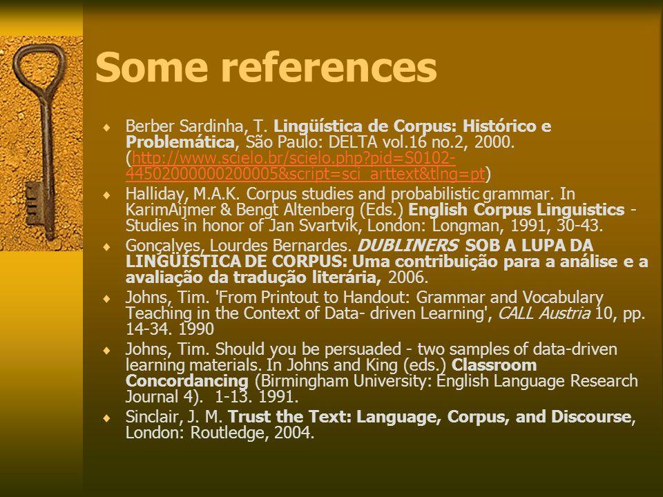 Some references  Berber Sardinha, T.