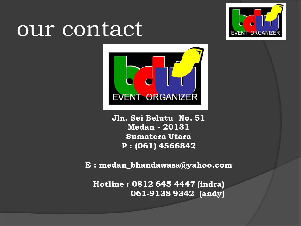 our contact Jln. Sei Belutu No.