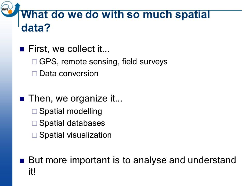 What do we do with so much spatial data. First, we collect it...