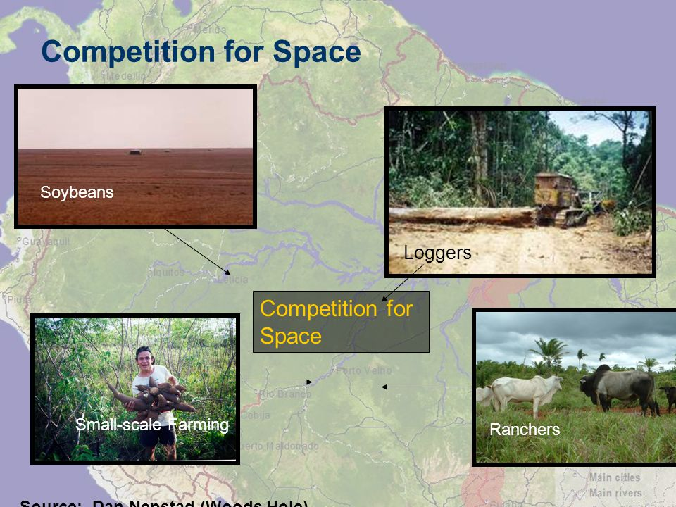 Competition for Space Loggers Competition for Space Soybeans Small-scale Farming Ranchers Source: Dan Nepstad (Woods Hole)