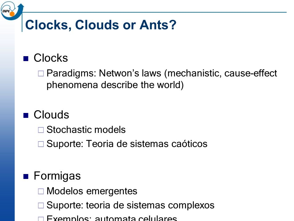 Clocks, Clouds or Ants.