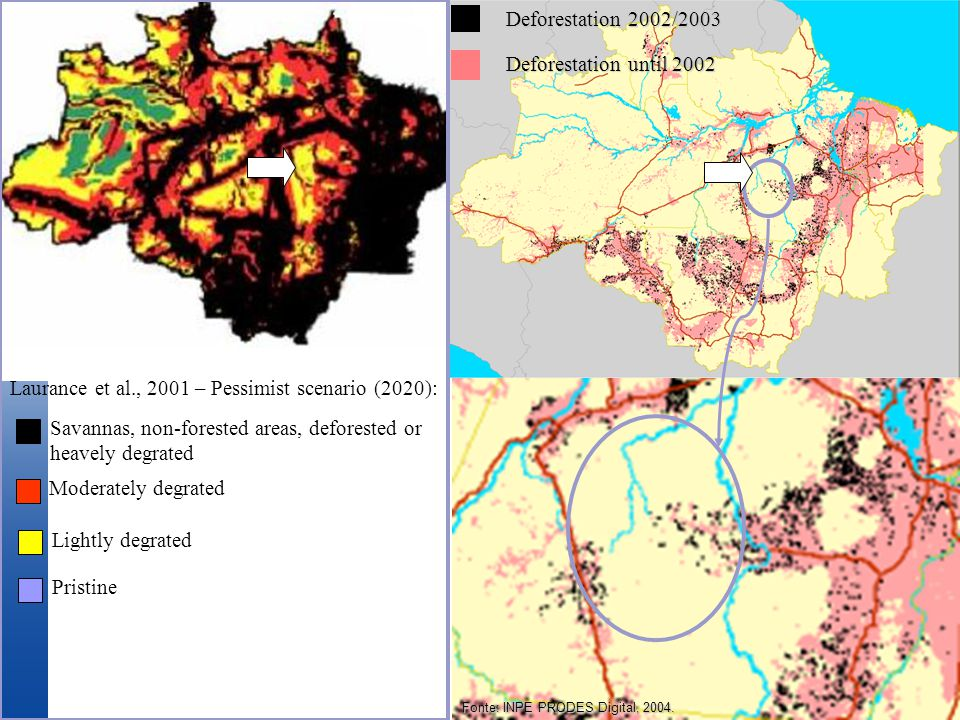 Laurance et al., 2001 – Pessimist scenario (2020): Savannas, non-forested areas, deforested or heavely degrated Moderately degrated Lightly degrated Pristine Fonte: INPE PRODES Digital, 2004.