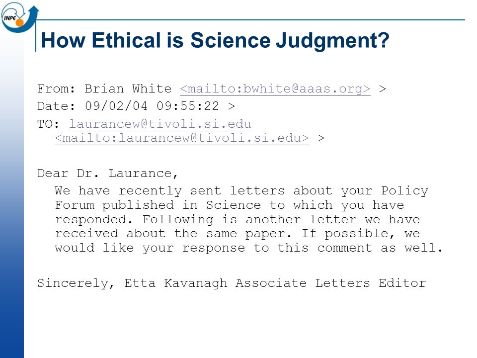 How Ethical is Science Judgment.