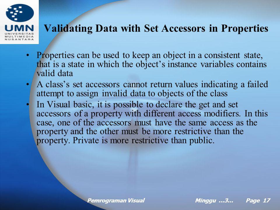 Pemrograman VisualMinggu …3… Page 16