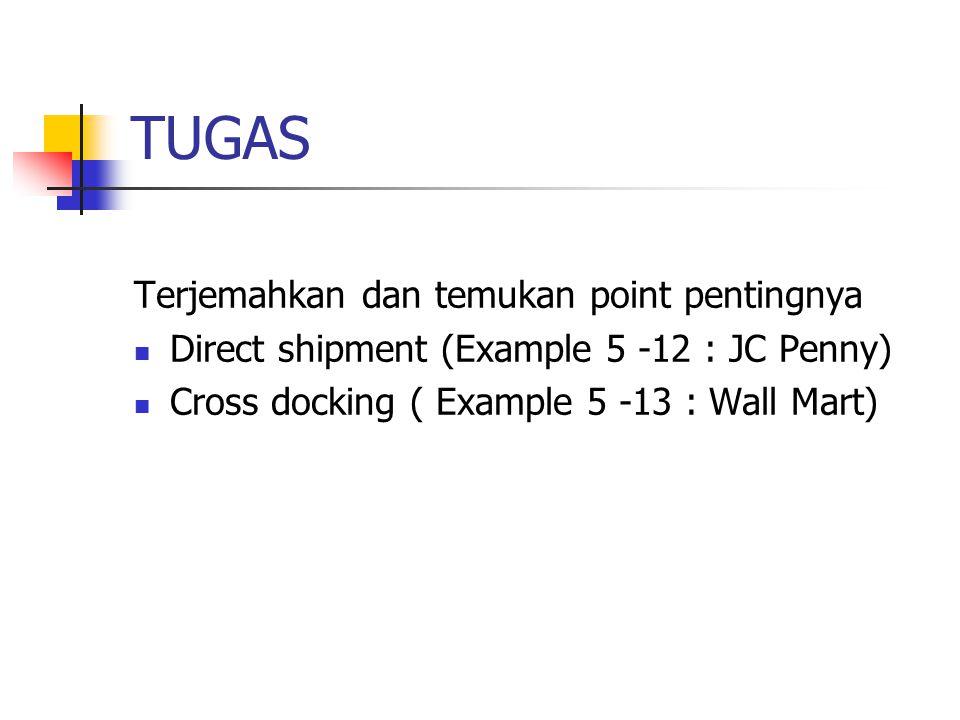 TUGAS Terjemahkan dan temukan point pentingnya Direct shipment (Example 5 -12 : JC Penny) Cross docking ( Example 5 -13 : Wall Mart)