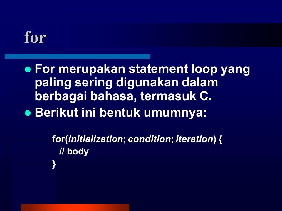 for For merupakan statement loop yang paling sering digunakan dalam berbagai bahasa, termasuk C.