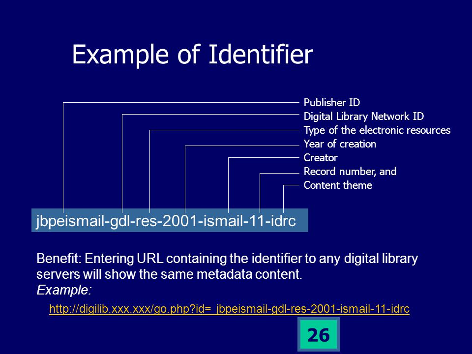 25 Key factor: Identifier Every metadata will be recognized from its IDENTIFIER.