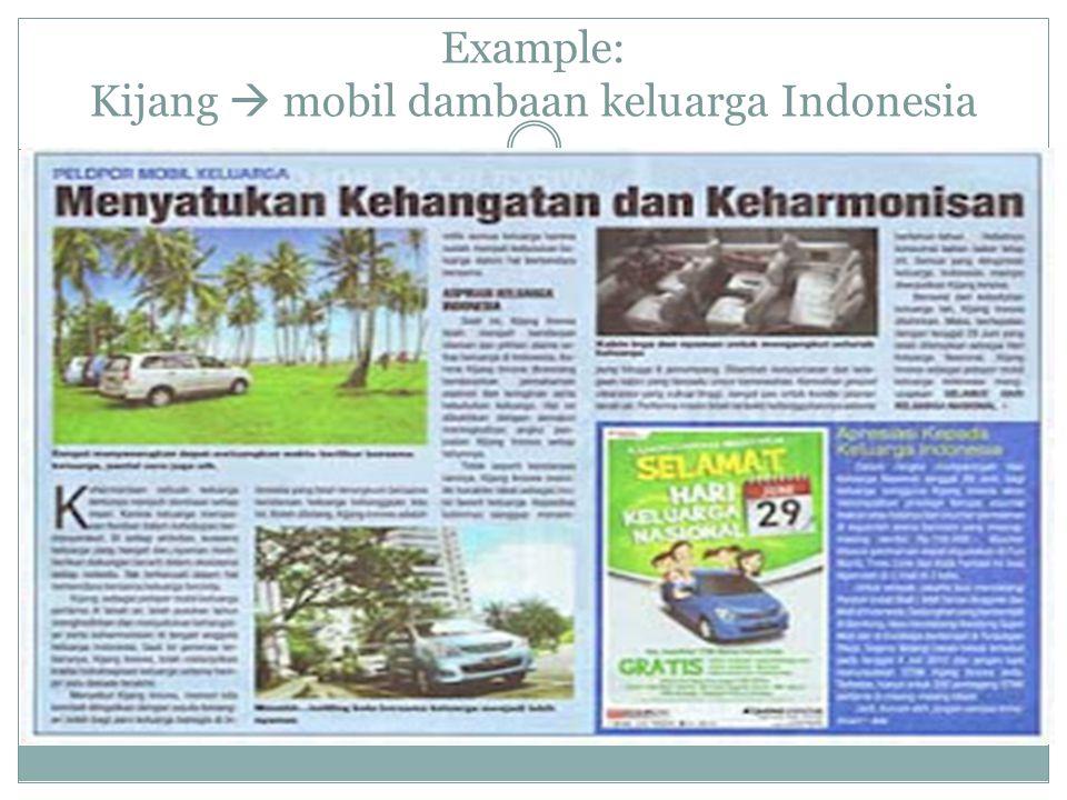 Example: Kijang  mobil dambaan keluarga Indonesia