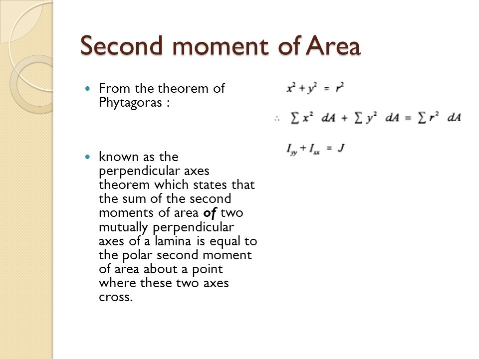 Parallel axes theorem known as the parallel axes theorem, which states that the second moment of area about the X-X axis is equal to the second moment of area about the x-x axis + h 2 x A, where x-x and X-X are parallel.