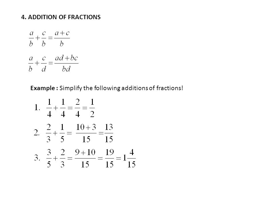 4. ADDITION OF FRACTIONS Example : Simplify the following additions of fractions!