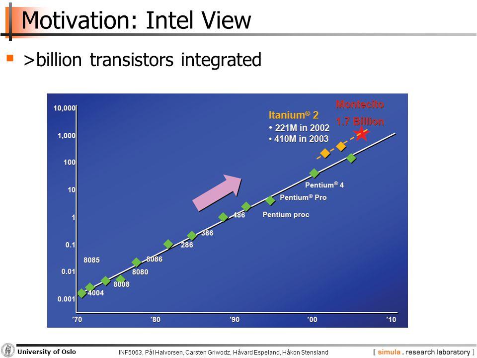 INF5063, Pål Halvorsen, Carsten Griwodz, Håvard Espeland, Håkon Stensland University of Oslo Motivation: Intel View  >billion transistors integrated