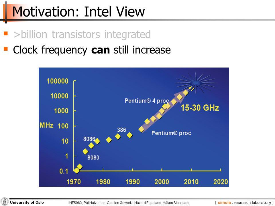 INF5063, Pål Halvorsen, Carsten Griwodz, Håvard Espeland, Håkon Stensland University of Oslo Motivation: Intel View  >billion transistors integrated  Clock frequency can still increase