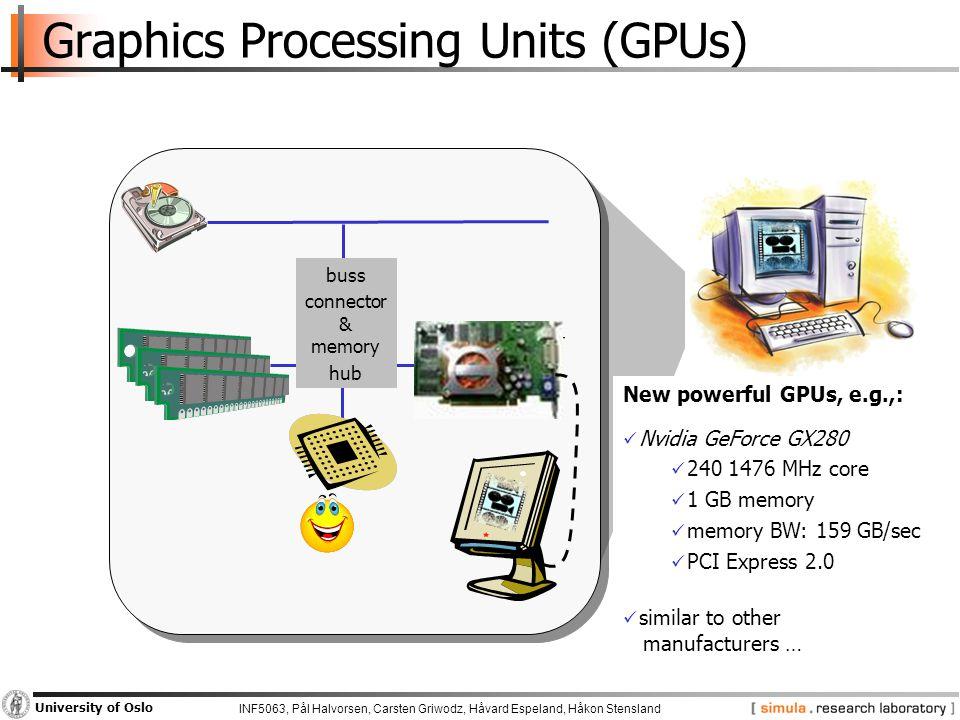 INF5063, Pål Halvorsen, Carsten Griwodz, Håvard Espeland, Håkon Stensland University of Oslo Graphics Processing Units (GPUs) buss connector & memory hub New powerful GPUs, e.g.,: Nvidia GeForce GX280 240 1476 MHz core 1 GB memory memory BW: 159 GB/sec PCI Express 2.0 similar to other manufacturers …