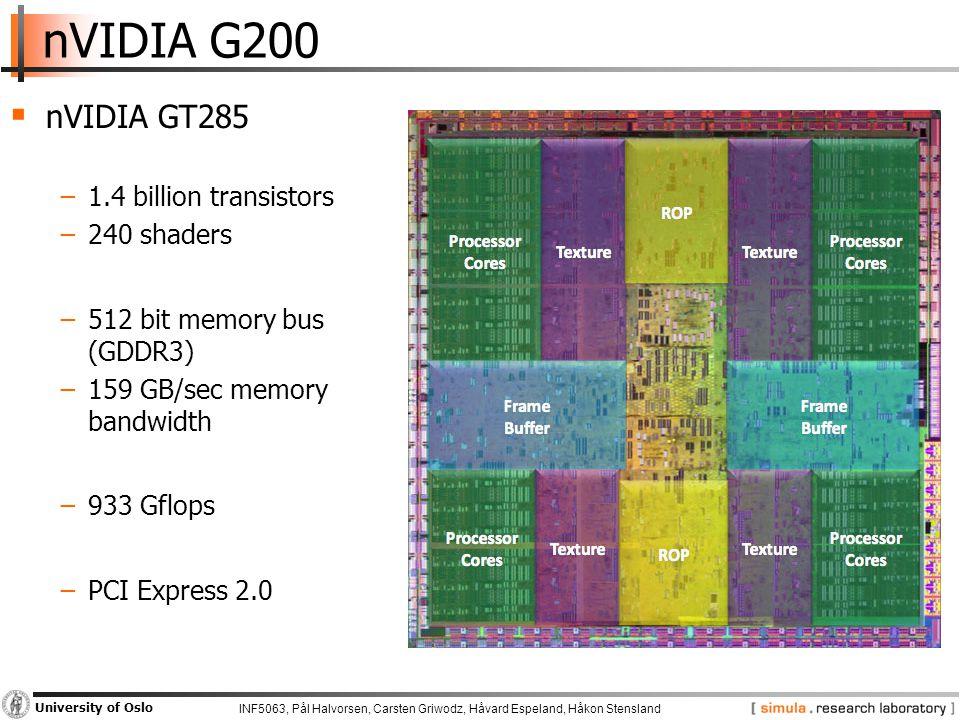 INF5063, Pål Halvorsen, Carsten Griwodz, Håvard Espeland, Håkon Stensland University of Oslo nVIDIA G200  nVIDIA GT285 −1.4 billion transistors −240 shaders −512 bit memory bus (GDDR3) −159 GB/sec memory bandwidth −933 Gflops −PCI Express 2.0