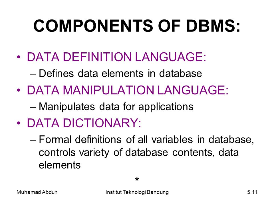 Muhamad AbduhInstitut Teknologi Bandung5.11 COMPONENTS OF DBMS: DATA DEFINITION LANGUAGE: –Defines data elements in database DATA MANIPULATION LANGUAG
