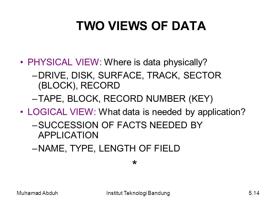 Muhamad AbduhInstitut Teknologi Bandung5.14 TWO VIEWS OF DATA PHYSICAL VIEW: Where is data physically? –DRIVE, DISK, SURFACE, TRACK, SECTOR (BLOCK), R
