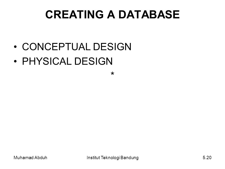 Muhamad AbduhInstitut Teknologi Bandung5.20 CREATING A DATABASE CONCEPTUAL DESIGN PHYSICAL DESIGN *