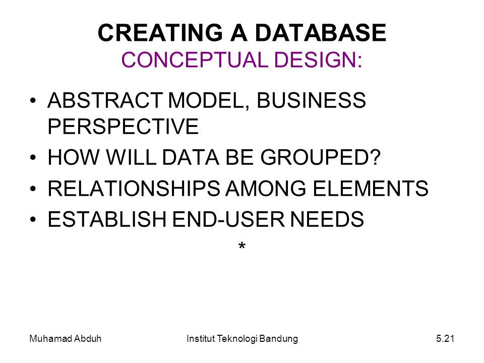 Muhamad AbduhInstitut Teknologi Bandung5.21 CREATING A DATABASE CONCEPTUAL DESIGN: ABSTRACT MODEL, BUSINESS PERSPECTIVE HOW WILL DATA BE GROUPED? RELA
