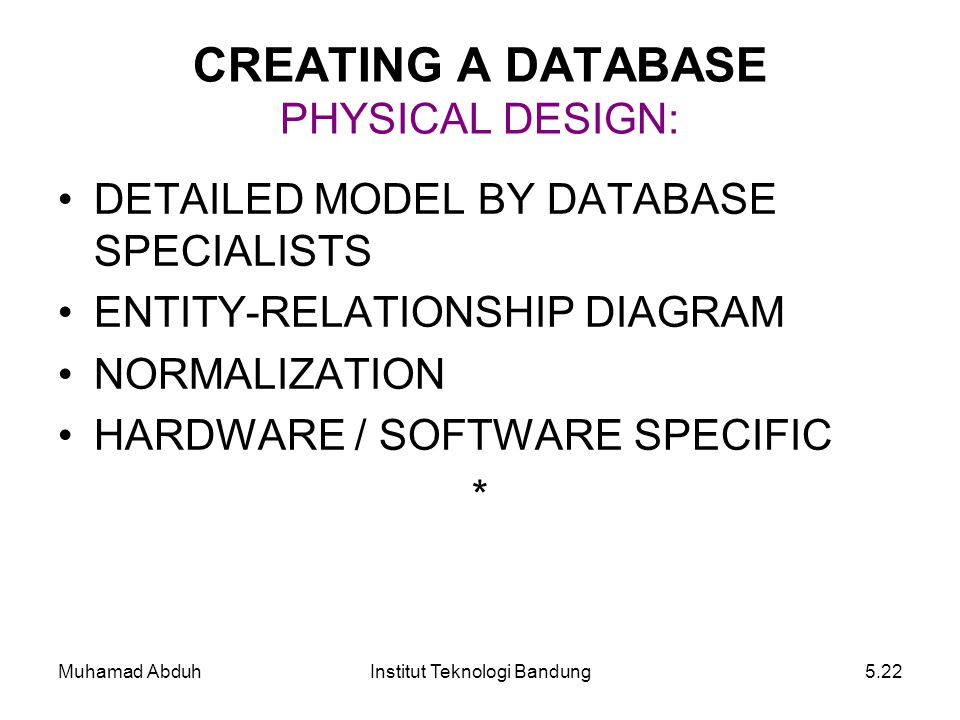 Muhamad AbduhInstitut Teknologi Bandung5.22 DETAILED MODEL BY DATABASE SPECIALISTS ENTITY-RELATIONSHIP DIAGRAM NORMALIZATION HARDWARE / SOFTWARESPECIF