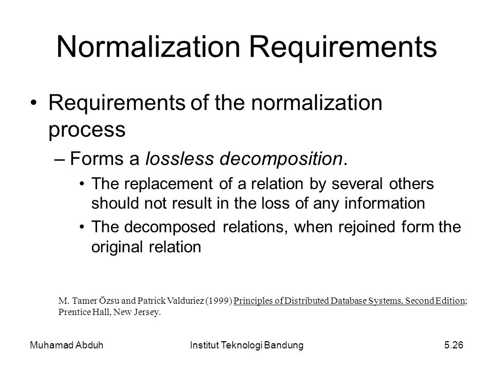 Muhamad AbduhInstitut Teknologi Bandung5.26 Requirements of the normalization process –Forms a lossless decomposition. The replacement of a relation b