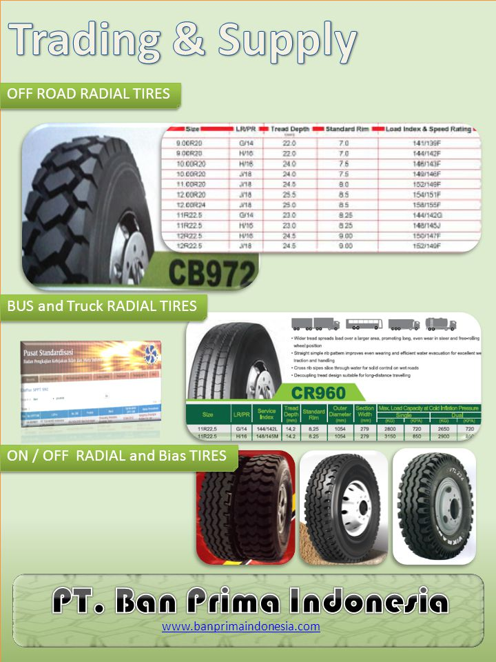 OFF ROAD RADIAL TIRES BUS and Truck RADIAL TIRES ON / OFF RADIAL and Bias TIRES www.banprimaindonesia.com