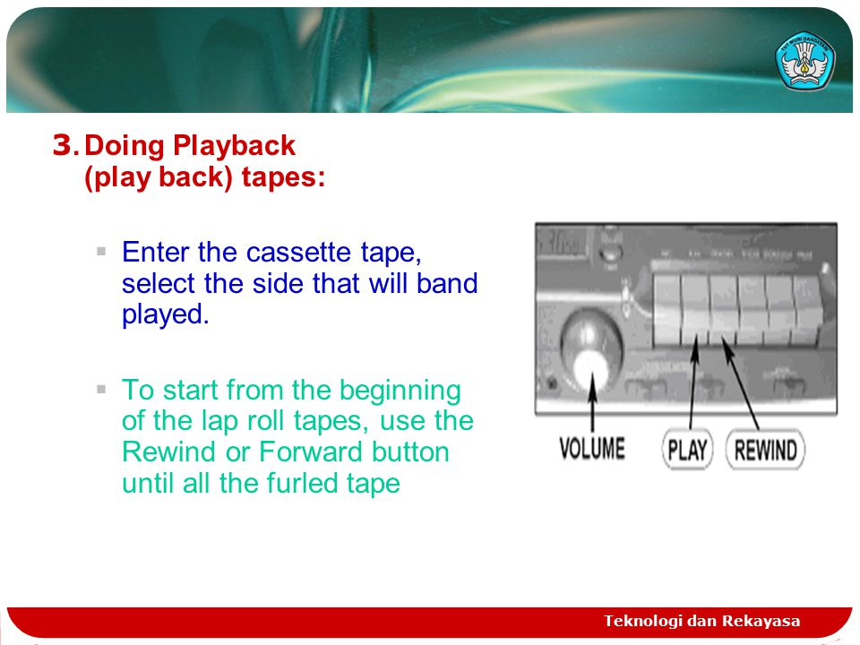 Teknologi dan Rekayasa 3.Doing Playback (play back) tapes:  Enter the cassette tape, select the side that will band played.  To start from the begin