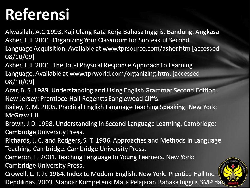 Referensi Alwasilah, A.C.1993. Kaji Ulang Kata Kerja Bahasa Inggris.