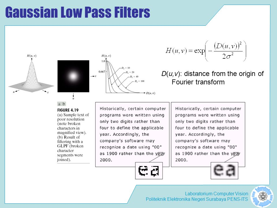 Laboratorium Computer Vision Politeknik Elektronika Negeri Surabaya PENS-ITS Gaussian Low Pass Filters D(u,v): distance from the origin of Fourier transform