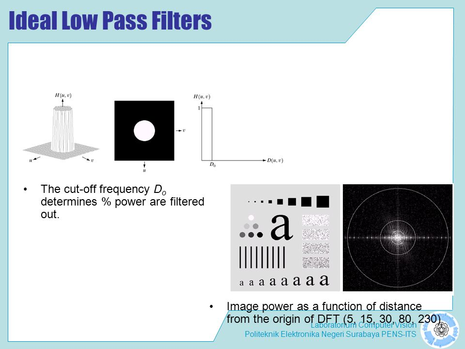 Laboratorium Computer Vision Politeknik Elektronika Negeri Surabaya PENS-ITS Effects of Ideal Low Pass Filters Blurring can be modeled as the convolution of a high resolution (original) image with a low pass filter.