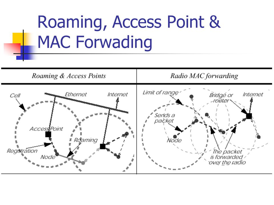 Roaming, Access Point & MAC Forwading