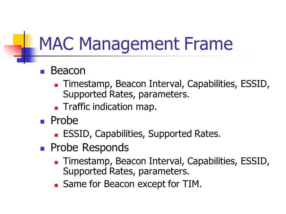 MAC Management Frame Beacon Timestamp, Beacon Interval, Capabilities, ESSID, Supported Rates, parameters.