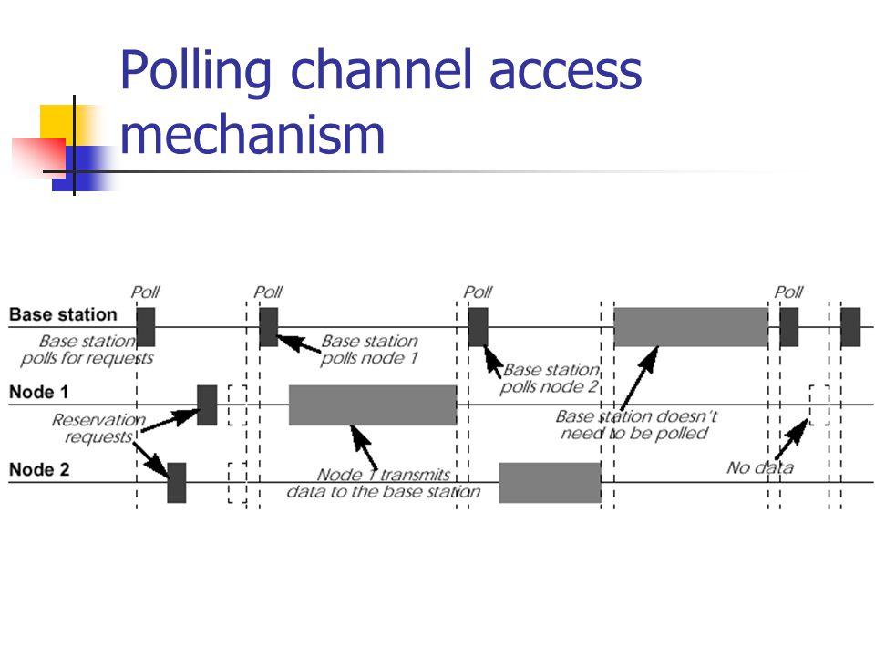 Polling Semi TDMA, semi CSMA/CA Base station keeps control No fix length packet