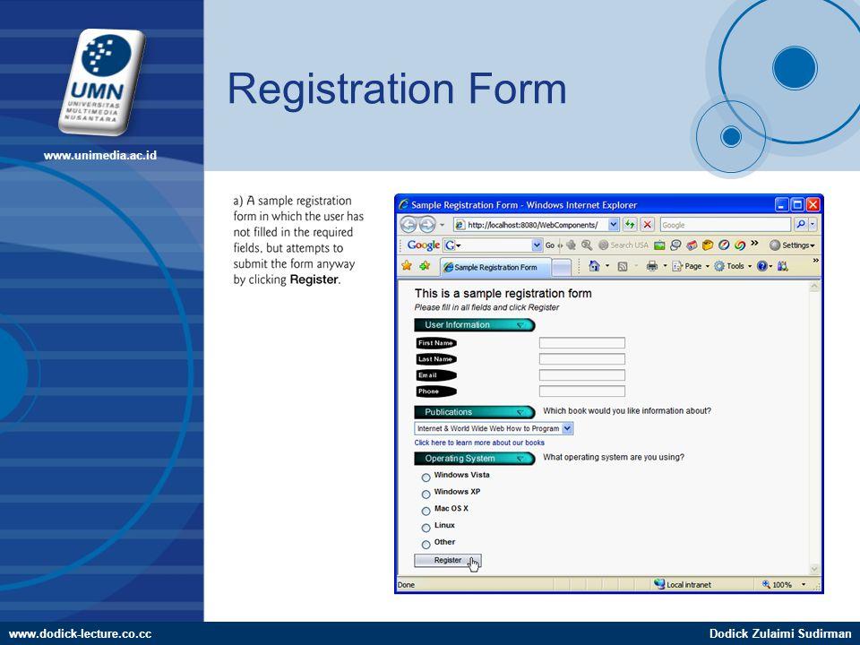 www.dodick-lecture.co.ccDodick Zulaimi Sudirman www.unimedia.ac.id Registration Form