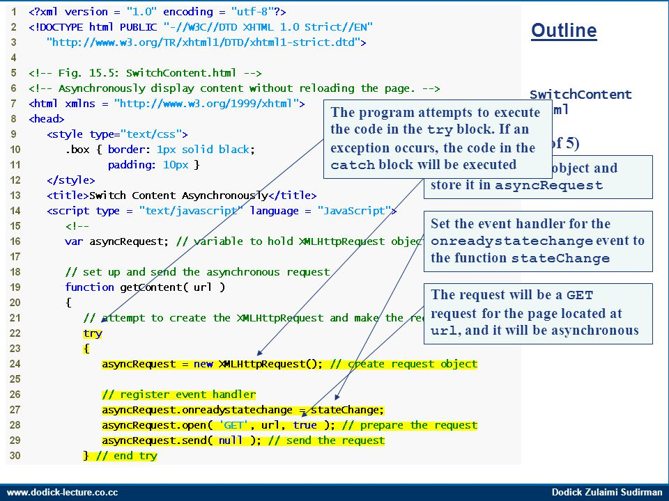 www.dodick-lecture.co.ccDodick Zulaimi Sudirman Outline SwitchContent.html (1 of 5) Create the request object and store it in asyncRequest Set the event handler for the onreadystatechange event to the function stateChange The request will be a GET request for the page located at url, and it will be asynchronous The program attempts to execute the code in the try block.