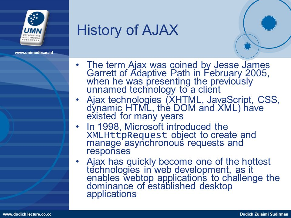 www.dodick-lecture.co.ccDodick Zulaimi Sudirman www.unimedia.ac.id History of AJAX The term Ajax was coined by Jesse James Garrett of Adaptive Path in February 2005, when he was presenting the previously unnamed technology to a client Ajax technologies (XHTML, JavaScript, CSS, dynamic HTML, the DOM and XML) have existed for many years In 1998, Microsoft introduced the XMLHttpRequest object to create and manage asynchronous requests and responses Ajax has quickly become one of the hottest technologies in web development, as it enables webtop applications to challenge the dominance of established desktop applications