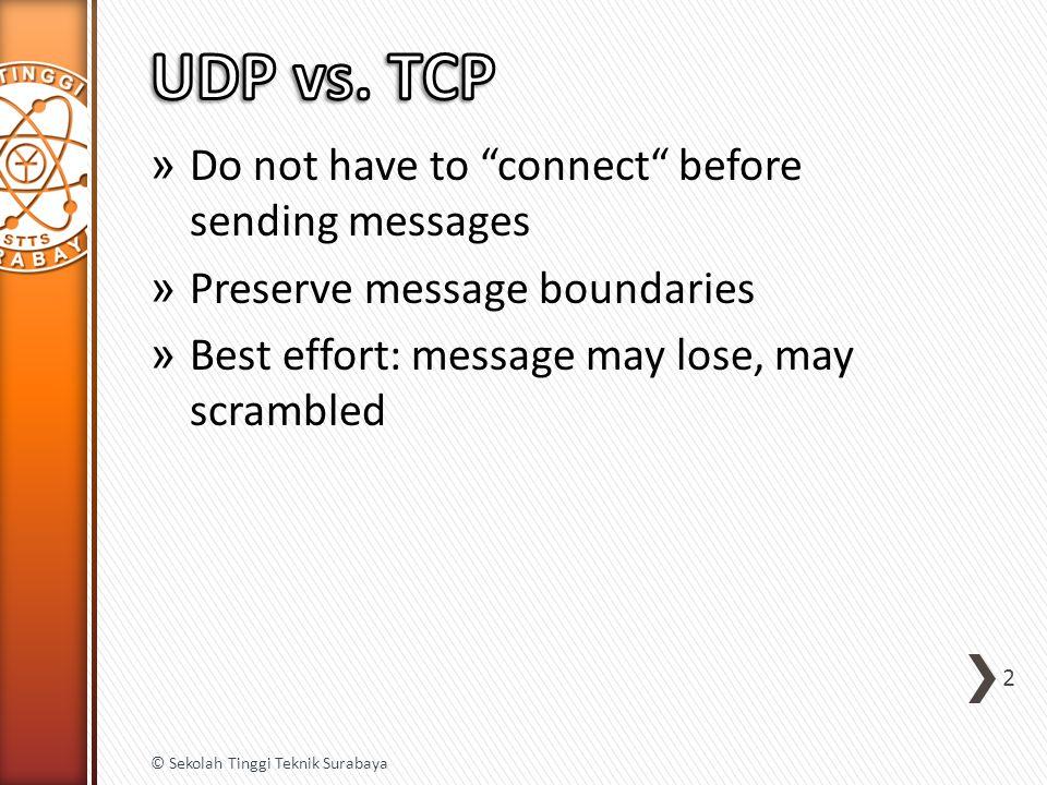» Do not have to connect before sending messages » Preserve message boundaries » Best effort: message may lose, may scrambled 2 © Sekolah Tinggi Teknik Surabaya
