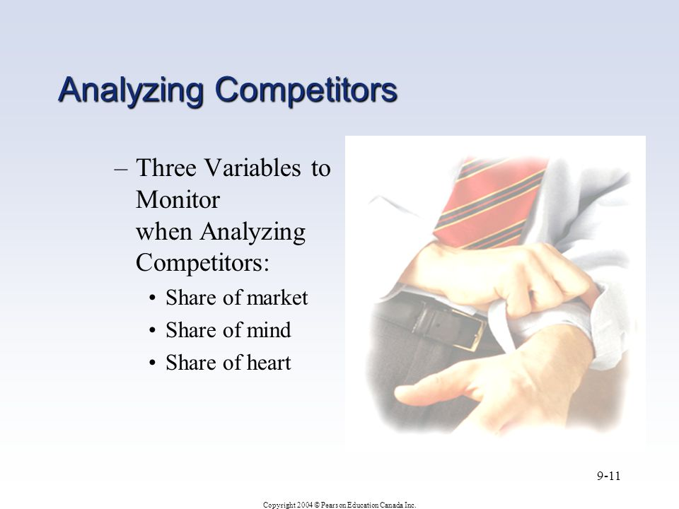 Copyright 2004 © Pearson Education Canada Inc. 9-11 Analyzing Competitors –Three Variables to Monitor when Analyzing Competitors: Share of market Shar