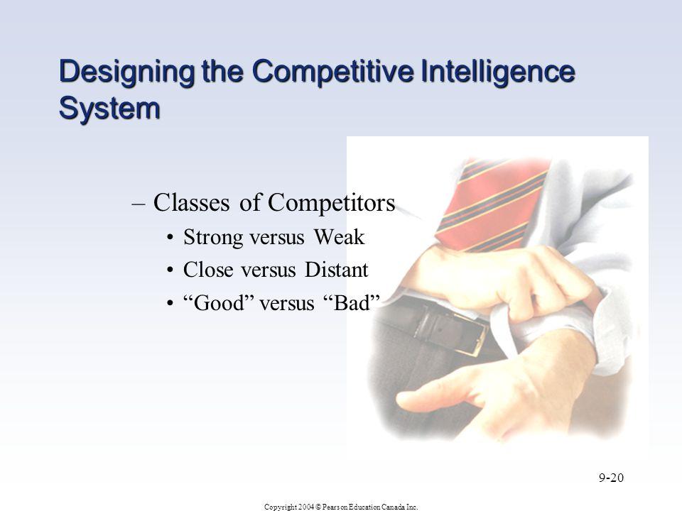 """Copyright 2004 © Pearson Education Canada Inc. 9-20 –Classes of Competitors Strong versus Weak Close versus Distant """"Good"""" versus """"Bad"""" Designing the"""