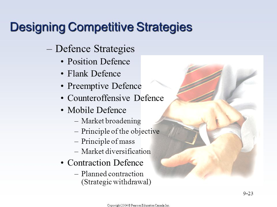 Copyright 2004 © Pearson Education Canada Inc. 9-23 –Defence Strategies Position Defence Flank Defence Preemptive Defence Counteroffensive Defence Mob
