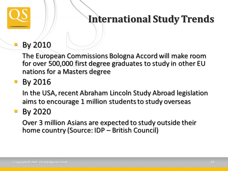 International Study Trends  By 2010 The European Commissions Bologna Accord will make room for over 500,000 first degree graduates to study in other EU nations for a Masters degree  By 2016 In the USA, recent Abraham Lincoln Study Abroad legislation aims to encourage 1 million students to study overseas  By 2020 Over 3 million Asians are expected to study outside their home country (Source: IDP – British Council) Copyright © 2008 QS Intelligence Unit 18