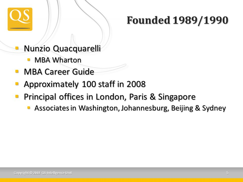 Founded 1989/1990  Nunzio Quacquarelli  MBA Wharton  MBA Career Guide  Approximately 100 staff in 2008  Principal offices in London, Paris & Singapore  Associates in Washington, Johannesburg, Beijing & Sydney Copyright © 2008 QS Intelligence Unit 5