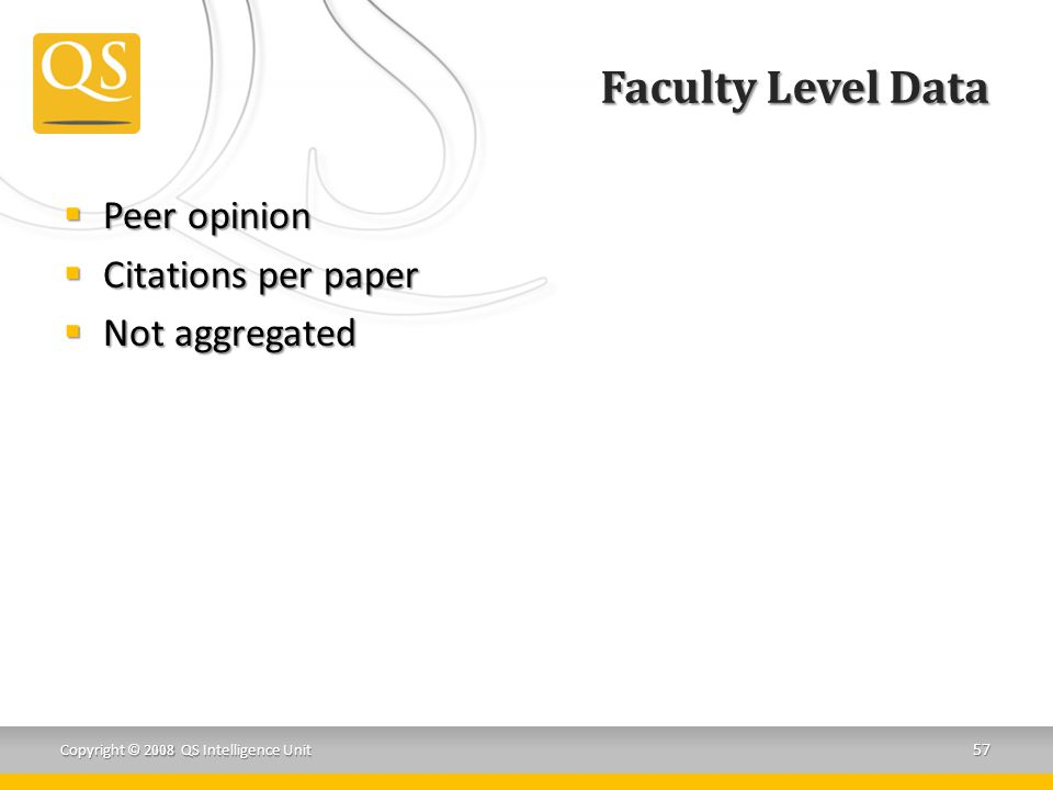 Faculty Level Data  Peer opinion  Citations per paper  Not aggregated Copyright © 2008 QS Intelligence Unit 57